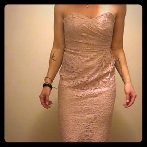 David's Bridal - light pink lace strapless